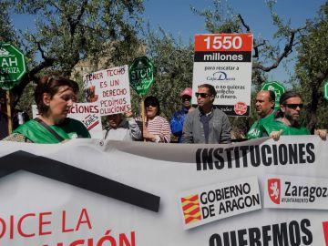La Plataforma de Afectados por la Hipoteca (PAH) en una protesta contra los desahucios.