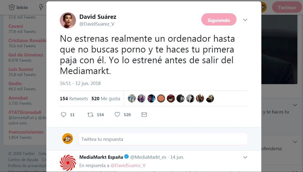 Tuit de David Suárez