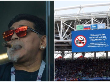 Maradona, fumando un puro