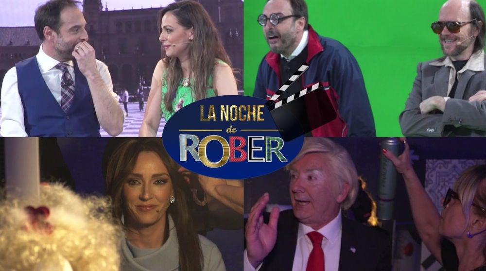 La divertida visita de Eva Gónzález y Santiago Segura a 'La noche de Rober', tras las cámaras