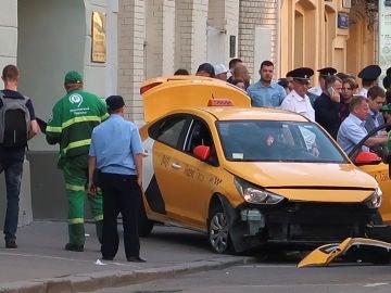 Así quedó el coche tras el atropello masivo en Moscú