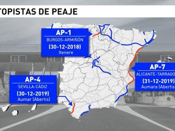 Fomento eliminará los peajes de las autopistas cuyas concesiones vencen ahora y sacará a concurso las rescatadas