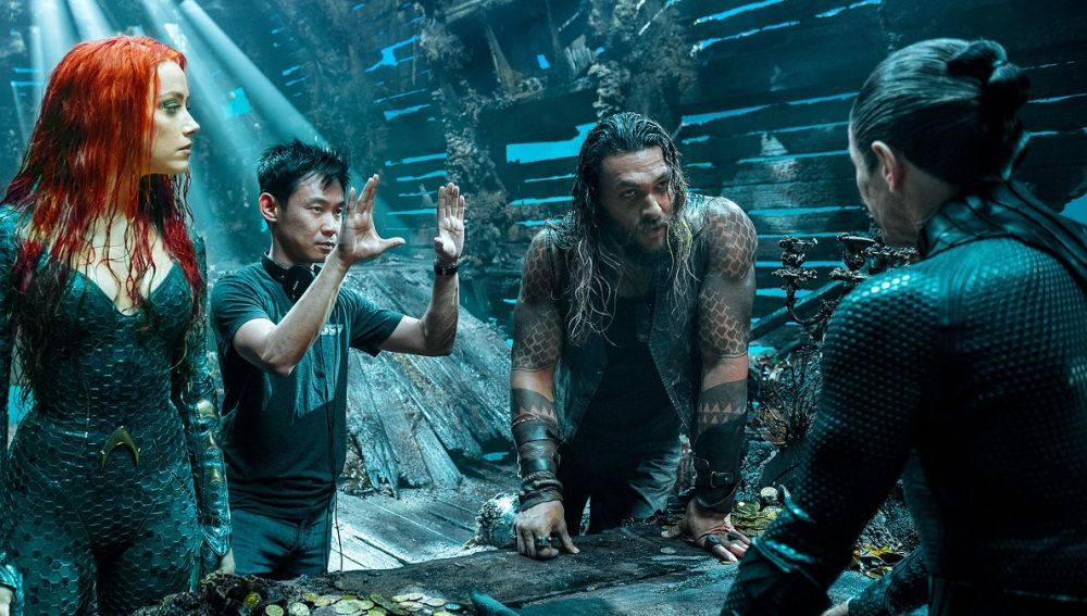 Amber heard, James Wan y Jason Momoa en el rodaje de 'Aquaman'