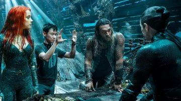 Amber heard, James Wan y Jason Momoa en el rodaje de 'Aquaman'