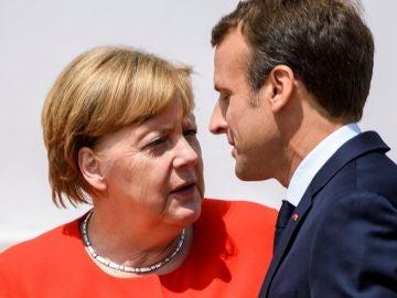 La canciller alemana, Angela Merkel, recibe al presidente galo, Emmanuel Macron