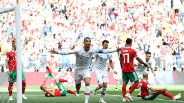 Cristiano Ronaldo celebra su gol contra Marruecos
