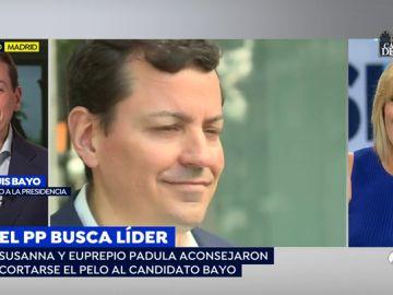 """Susanna Griso convence al candidato del PP José Luis Bayo para que se corte el pelo: """"No puedes tener un corte del siglo pasado"""""""