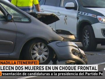 Mueren dos mujeres en un choque frontal de dos vehículos en el sur de Tenerife