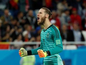David de Gea celebra un gol de la selección española