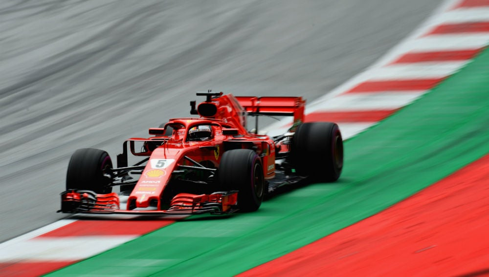 Vettel, con el Ferrari en Austria