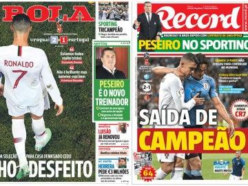 La prensa de Portugal lamenta el adiós de su selección