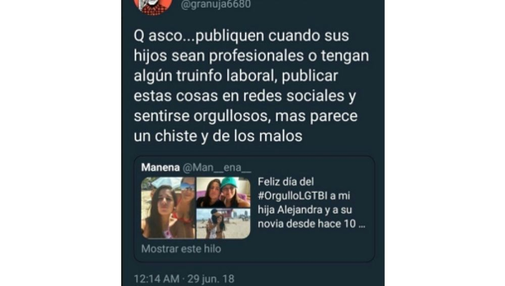 Mensaje de odio en Twitter