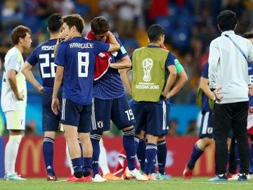 Los jugadores de Japón, desconsolados tras caer en el Mundial