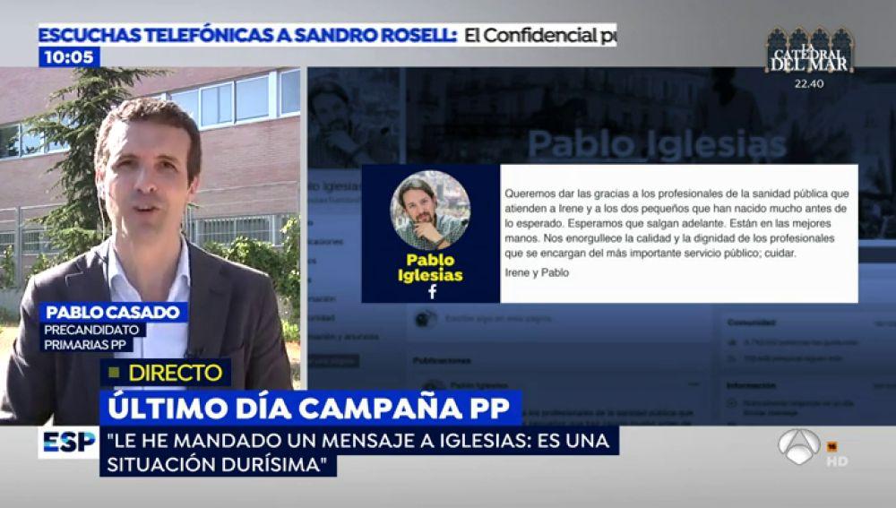 """El mensaje de apoyo de Pablo Casado a Pablo Iglesias e Irene Montero: """"Les esperan unos meses durísimos, que no se rindan"""""""