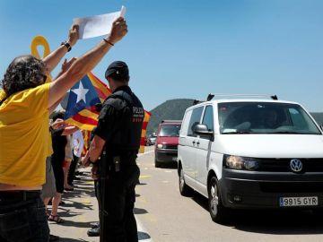 Llegada de los presos Jordi Cuixart, Jordi Sánchez, Raul Romeva y Oriol Junqueras
