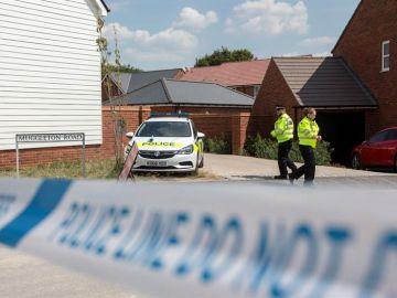 Vista de la zona acordonada por la policía británica