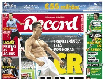 Portada del diario 'Record'