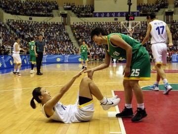Momento del partido entre las dos Coreas