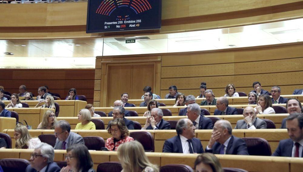 Un momento de un debate de presupuestos en el pleno del Senado