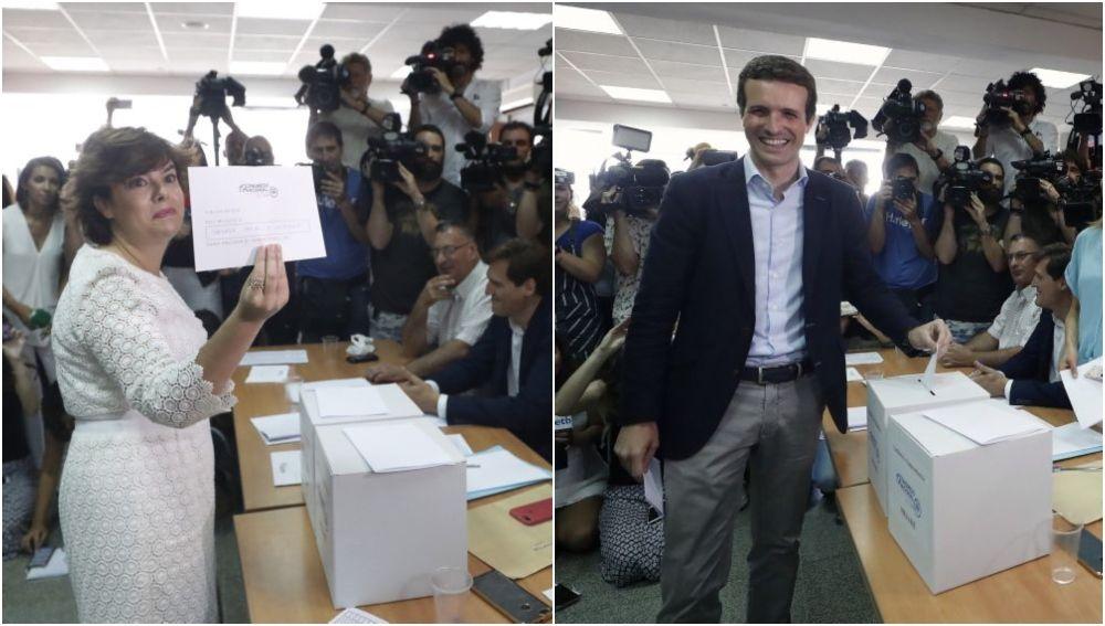 Soraya Sáenz de Santamaría y Pablo Casado, vencedores de las primarias del PP