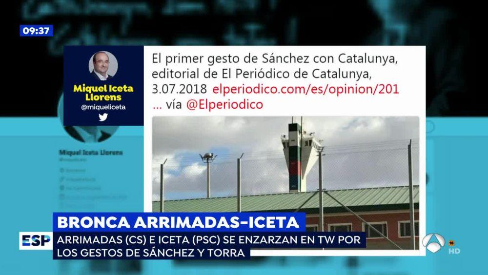 Bronca entre Arrimadas e Iceta en las redes por los gestos de Sánchez y Torra