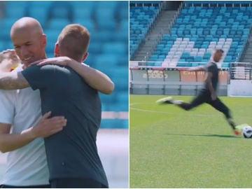 Zidane y Beckham se saludan y se retan
