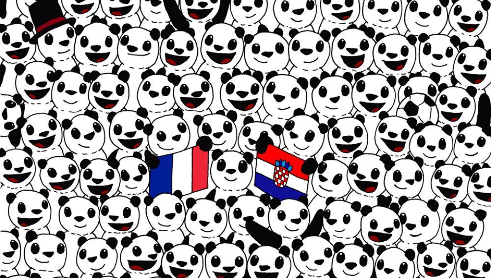 ¿Puedes encontrar la pelota entre los pandas?