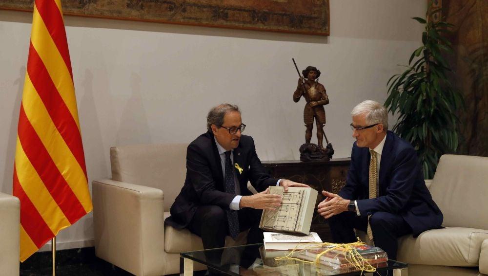 El presidente de Cataluña, Quim Torra, y el presidente de Flandes, Geert Bourgeois