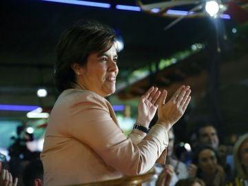 Soraya Sáenz de Santamaría durante el acto con el que cierra su campaña