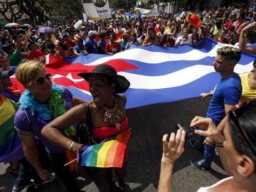 Imagen de una manifestación a favor de los derechos LGTBI en Cuba
