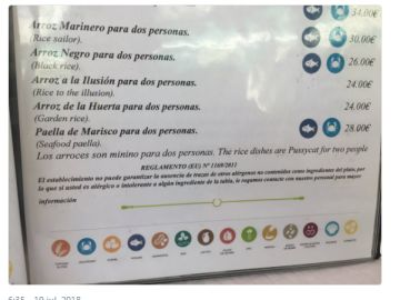 Carta de un restaurante en Cadiz