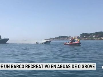 Cuatro heridos en un incendio en un barco recreativo en O'Grove (Pontevedra)