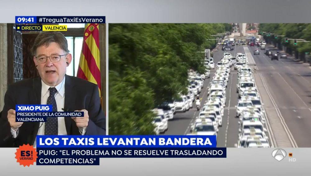 """Ximo Puig, sobre la huelga de taxis: """"El problema no se resuelve trasladando competencias"""""""