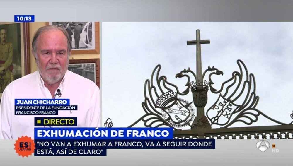 """Chicharro, presidente de la Fundación Franco: """"No van a exhumar a Franco, va a seguir donde está"""""""