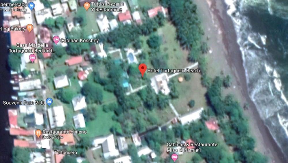 Imagen de Google Maps de la zona en la que se encuentra el Hotel Tortuguero en Costa Rica