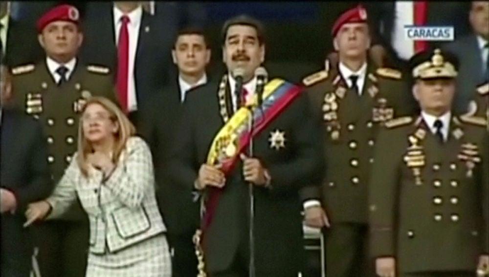 Momento del atentado contra Maduro