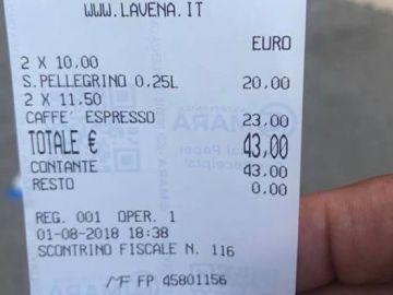 La cuenta de un restaurante que se ha hecho viral