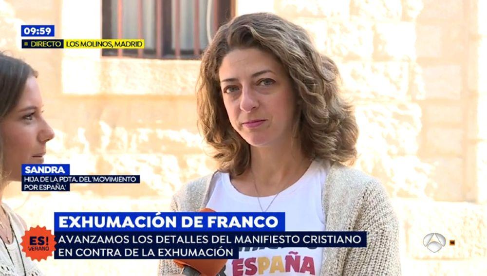 """Sandra, hija de la presidenta del 'Movimiento por España': """"Hay que agradecer lo que hizo Franco por España y la Iglesia Católica"""""""
