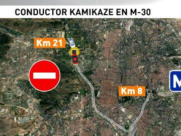 Recorrido del conductor kamikaze en Madrid