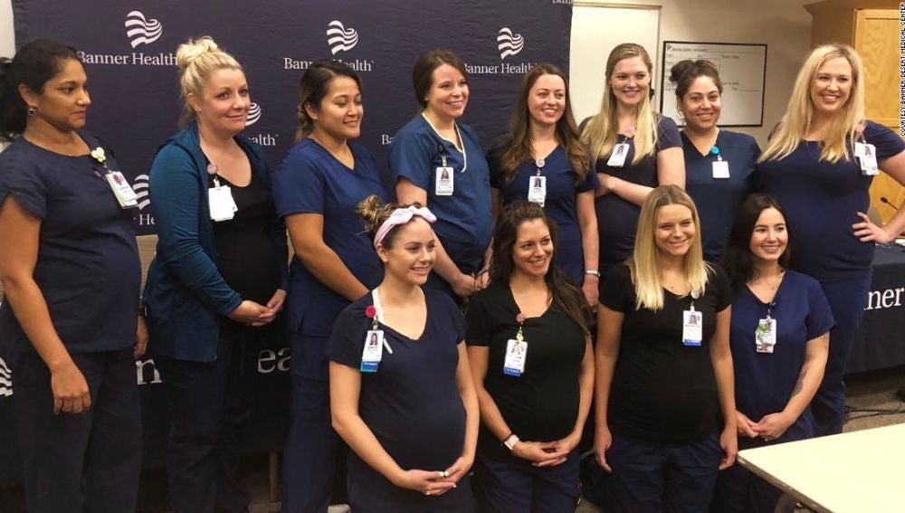 16 enfermeras del mismo hospital, embarazadas a la vez