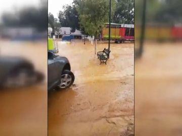 Se derrumba una caseta en la feria de Guadalcanar debido a una tormenta
