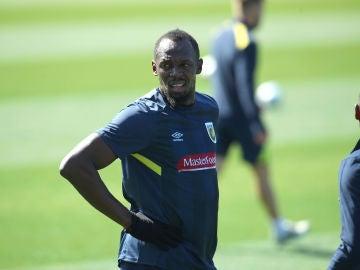Usain Bolt en un entrenamiento