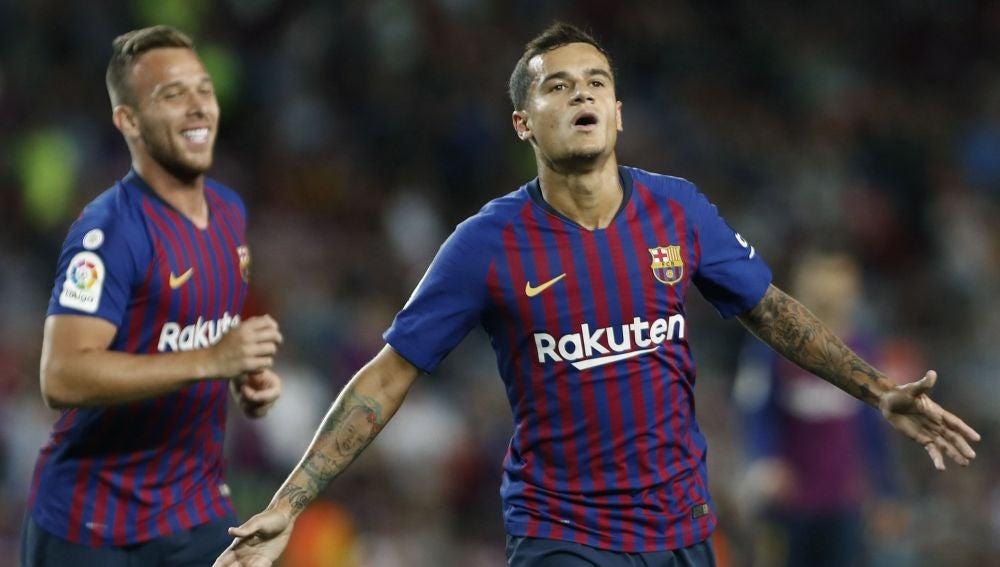 Coutinho celebra un gol