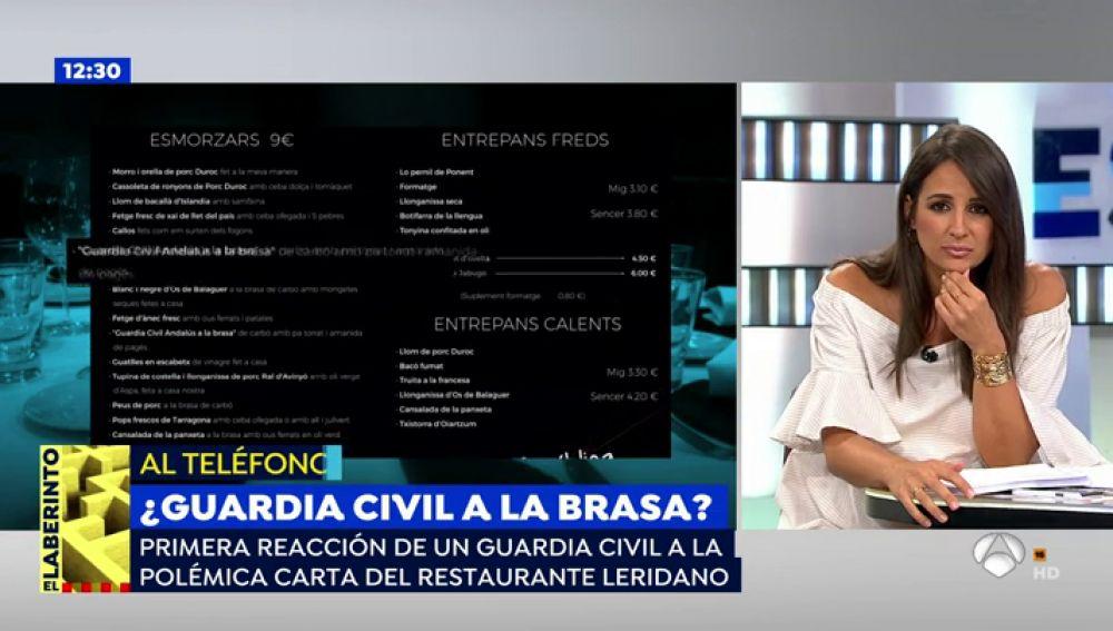 """Un restaurante de Lérida ofrece en su carta """"Guardia civil andaluz asado"""""""