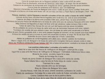Nuevo menú polémico del restaurante independentista de Lérida