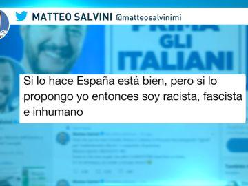 """Salvini denuncia el doble rasero tras las expulsiones en España: """"Si lo hago yo, soy un racista"""