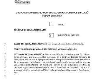 Solicitud de comparecencia del ministro Fernando Grande-Marlaska