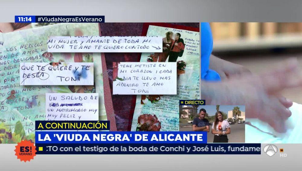 'Espejo Público' muestra la carta de mofa y amenaza que el tercer marido de la 'Viuda Negra' de Alicante mandó al segundo