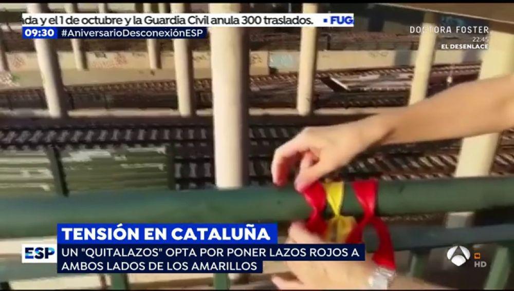 El vídeo viral del catalán que convierte los lazos amarillos en banderas de España