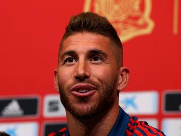 Sergio Ramos, en la rueda de prensa de la selección española